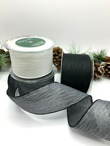 """2.5"""" wired edge monochrome ribbons black white grey tree bow wreath gift funeral"""