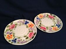 Set of 2 Tabletops Unlimited Mariam's Garden Salad Plates Floral Handpainted