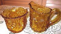 Vintage Pressed Amber Glass Large Cream & Sugar Bowl w SAW TOOTH EDGE