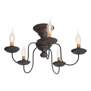 Irvin's Country Tinware Thorndale Ceiling Light in Hartford Black with Red