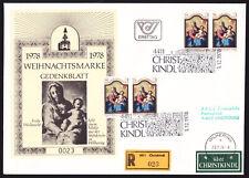 Ö.1978 Christkindl Reco-Brief gelaufen Wilhering/Linz mit Gedenkblatt  !