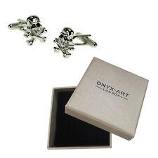 Mens Silver Skull & Crossbones Cufflinks & Gift Box - Pirate By Onyx Art