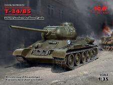 ICM 1/35 t-34/85 II Guerra Mundial soviético Tanque Medio #35367