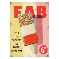 Classic Fab Lolly Metal Advertising Sign Vintage Retro Ice Drink Plaque Outdoor