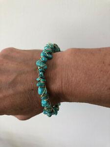 Turquoise Gemstone Chip Wire Wrapped Bangle Bracelet (new)