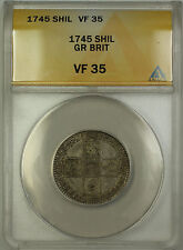 1745 Great Britain Lima Silver Shilling Coin George II ANACS VF-35