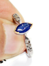 Blue Sapphire Fashionable Bridal Ring Victorian 0.30ct Rose Cut Diamond