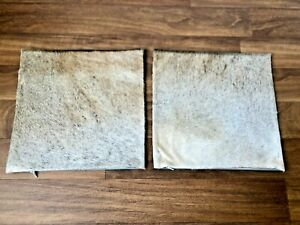 """Real Cowhide Pillows Cushion Cover Throw Leather Gray White 16""""x16"""" Set of 2"""