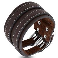 Zense - Bracelet de force pour homme en cuir marron ZB0266