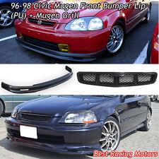 Mu-gen Style Front Bumper Lip (PU) + Mu-gen Style Grill Fit 96-98 Civic 3dr