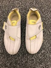 LADIES 'LACOSTE' WHITE/YELLOW LEATHER TRAINERS.SIZE UK 4/EU 37. VELCRO FASTENING
