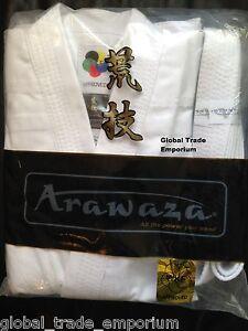 ARAWAZA WHITE ADULT WKF KARATE SUIT GI UNIFORM MIDDLEWEIGHT 10oz