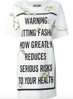 AW16 MOSCHINO COUTURE Jeremy Scott BURNT EFFECT QUITTING FASHION RAYON DRESS