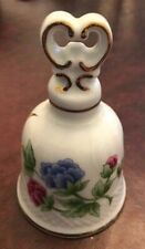 Hollohaza Porcelain Bell With Blue & Pink Flowers & Butterfly with Gold Accents