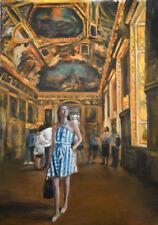 Original escha van den bogerd en el Museo Louvre PARIS French Arte Óleo Pintura