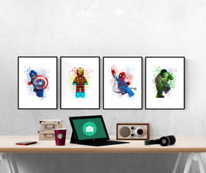 Marvel Lego Watercolour Splash Set Of 4 Prints Pictures Wall Art Poster