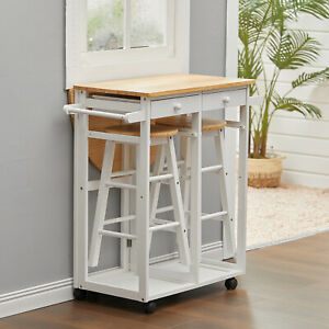 Moving Kitchen 3Pcs Set Island Drof Leaf Dining Table Stool Wooden Trolley Cart