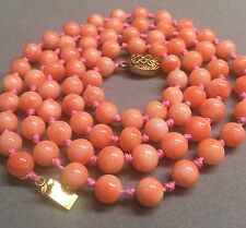 Vintage Angelskin Salmon Pink Coral Bead Necklace