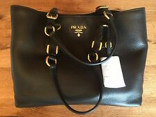NWT PRADA 1BG043 Vitello Phenix Leather Black Shopping Tote Shoulder bag Black