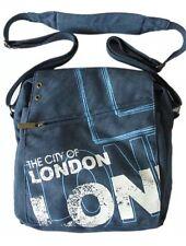 THE di Robin London City Ruth Blu/Bianco Tela Scuola Università Borsa da spalla con Zip Regalo