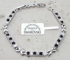 Bracciale tennis oro bianco 18k donna,braccialetto infinito classico SW nero bia
