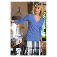 soft surroundings 3/4 Sleeve Shapely Surplice Top Blue XS