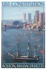 USS Constitution & Boston Skyline, Massachusetts, Ship, Boats -- Modern Postcard