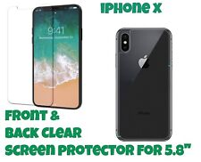 "Front and Back LCD Screen Protector Guard for Apple iPhone X for 5.8"" Screen"