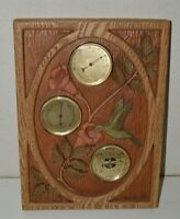 Vintage RON RAMSEY Carved Wooden Barometer Thermometer Hummingbird France Rare