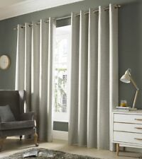 "One Pair of Ashley Wilde Plain Woven Detail Thick Monaco Eyelet Lined Curtains Pebble 90"" X 54"""