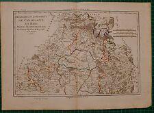 1790 DATED RIGOBERT BONNE MAP ~ FRANCE DEPARTMENTS CHAMPAGNE BRIE