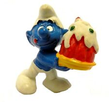 Greedy Smurf Schleich Peyo Smurfberry Cake Plate Hong Kong 1978 Figure Vintage