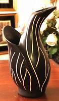 Antique Morkov Pottery Vase Black White Tulip Danish Art Nouveau Signed Vtg