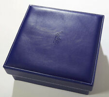 BLUE SQUARE STORAGE BOX LIFT LID FAUX LEATHER ORGANIZATION FUNCTION DESIGN