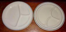 "Mercer Hotel Ware Buffalo China Green Band White 2  Divided Grill Plates 9-1/2"""