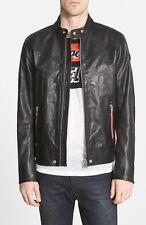 DIESEL® 'Reed' Black Buffalo Leather Moto Jacket Size L  RETAIL $595 PLUS TAX