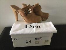 Christian Dior Beige Leather  Platform Clogs Size 38-1/2