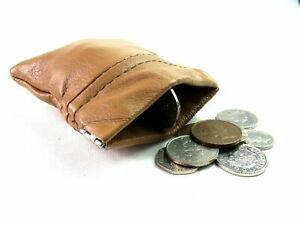 Unisex Small Tan Real Leather Coin Pouch Purse Change Wallet Snap Top Wallet