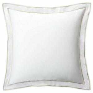 Lauren Ralph Lauren Spencer Border White & Flax Euro Pillow Sham retail $135