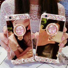 Bling Diamond Crystal Ring Holder Kickstand Mirror Case Cover For iPhone Galaxy