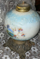 Stunning Victorian Blue Hand Painted Sailboat Scene Lamp Base Part Font As Found