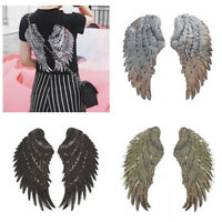 1 Pairs Fashion Clothes Bag Patches Embroidered Iron on DIY Angel Wings Applique