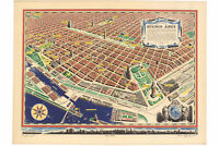 Antique Panoramic map; El Corazon De Buenos Aires, 1950