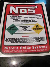 NITROUS REPLACEMENT 20lb NOS BOTTLE LABEL DECAL Tank Sticker only race Car USA
