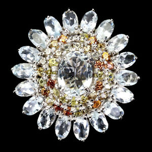 Unheated Oval Aquamarine 9x7mm Sapphire Diamond Cut 925 Sterling Silver Ring 8