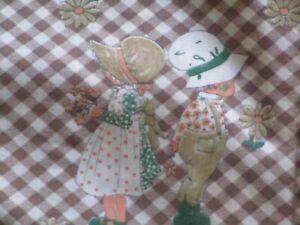 Vintage Holly Hobbie Style Fabric Orange Green  Brown on Brown Gingham 44 x 2yds