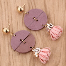 Women Wood Tassel Earrings Long Ear Stud Drop Dangle Jewelry Gift Fashion