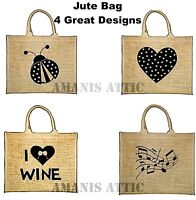 Jute Shopping Bag Rsw High Quality Bags 4 different designs Shoulder Straps New