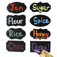 Multi Shape Small Chalk Black Board Mason Jar Labels Stickers Chalkboard EW