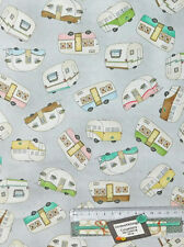 Quilting Patchwork Sewing Fabric CARAVAN GREY MULTI Cotton Material 50x55cmFQ...
